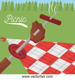 picnic food grilled checkered tablecloth meadow