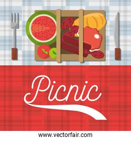 picnic basket food fork and knife poster