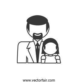 father and daughter family members outline