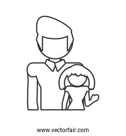 father and daughter girl outline