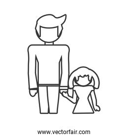 father and daughter lovely outline