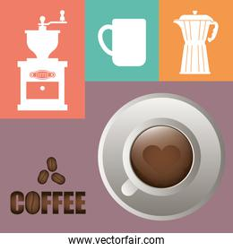 coffee cup poster cup heart shape