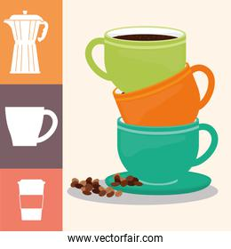 coffee cup poster pile cup drink hot