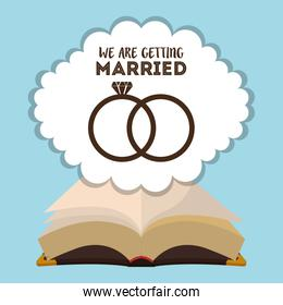 we are greeting married card with rings and bible religious