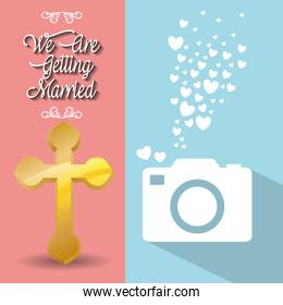 we are greeting married card cross and photo camera