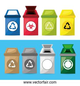 set icon trash can for waste separation