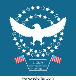 beauty eagle with american flag symbol