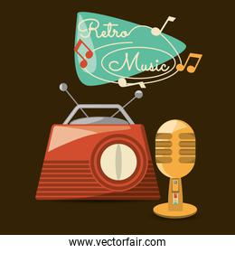 retro radio and microphone to listen and sign music