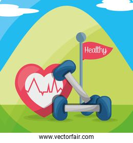 mountain with weights and heartbeat healthy body