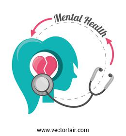 woman silhouette with heart brain and stethoscope