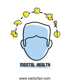 man with healthy mentality icons around