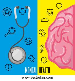 healthy brain with stethoscope treatment