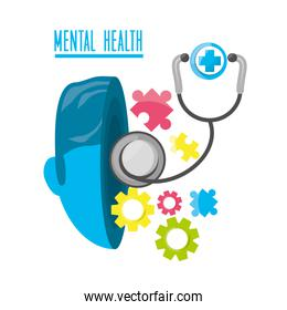 mental healthy with stethoscope and medical icon