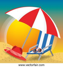 summer umbrella, sun glasses, chair and hat over sand with a beautiful sunny beach