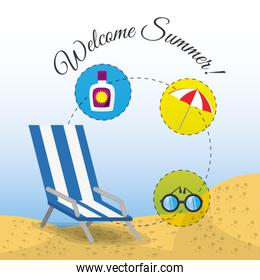 summer umbrella, sun glasses, chair and sunscreen over sand with a beautiful sunny beach