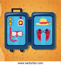 open baggage with sun glasses, mask, suncreen, hat and sandals over sand