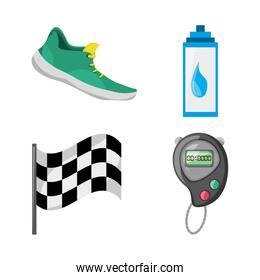 colorful set icon related with running and competition sport