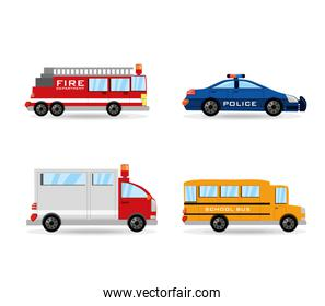 fire truck, police, ambulance and bus set icon flat
