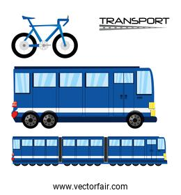 bicycle, bus, and train transportation set icon flat