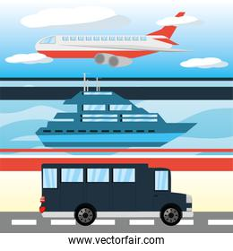 airplane, yacht, and bus transportation set icon flat