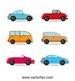 set icon transportation cars of differents colors