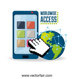 smartphone and hand cursor related with internet around the world