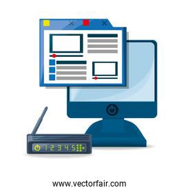 webside, router, internet and computer
