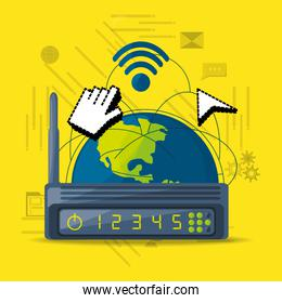 wifi router icon related with internet around the world
