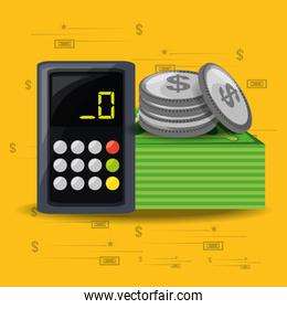 calculator, bills and coins over yellow background