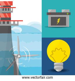 landscape related with tidal energy, batery and bulb icon