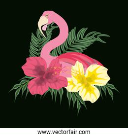 beautiful exotic flamingo with palms and tropical flowers in black background