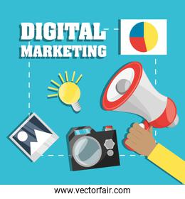 hand and megaphone related with digital marketing