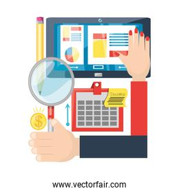 hand holding a magnifying glass and different icons of digital marketing over white