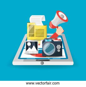 colorful smarphone and icons of digital marketing