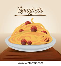 delicious spaghetti with meat menu restaurant