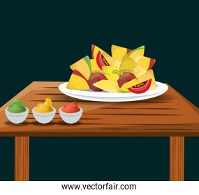 nachos mexican food with sauces menu restaurant