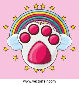 cute footprint with colorful rainbow
