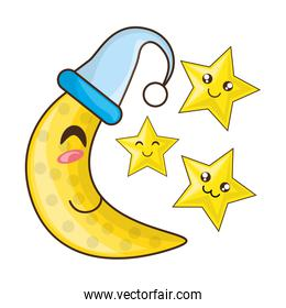adorable moon with sleep hat and cute stars
