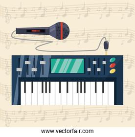 electric keyboard with microphone concept music