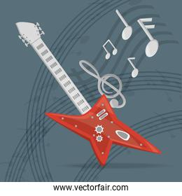 electric guitar with musical notes