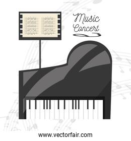 piano instrument with music sheet concept music
