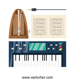 electric keyboard with music sheets concept music
