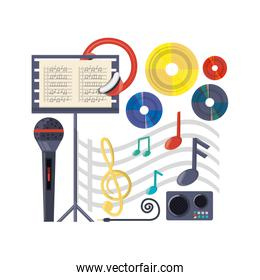 musical concept with microphone amplifier and music sheet
