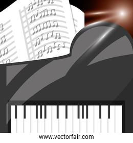 piano instrument with music sheets