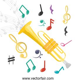 trumpet instrument with musical notes