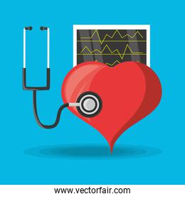 stethoscope check to heart and review cardiac rhythm