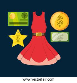 set icon dress credit card and cash money shopping concept
