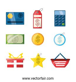 colorful set icon shopping concept