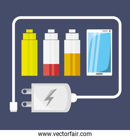 cellphone with power cable to charge the battery