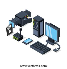 isometric computer with router and camcorder videos